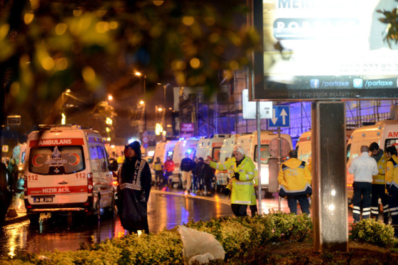 Ambulances line up on a road leading to a nightclub where a gun attack took place during a New Year party in Istanbul, Turkey, January 1, 2017. Ismail Coskun/Ihlas News Agency via REUTERS ATTENTION EDITORS - THIS PICTURE WAS PROVIDED BY A THIRD PARTY. FOR EDITORIAL USE ONLY. NO RESALES. NO ARCHIVE. TURKEY OUT. NO COMMERCIAL OR EDITORIAL SALES IN TURKEY.