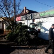 На Набережній авто поліції злетіло з дороги і знесло ялинку