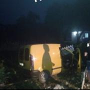 Аварія на Коломийщині: легковик зніс частину паркану (фото)