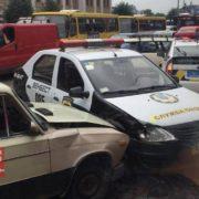 На Привокзальній площі водій охоронної фірми скоїв ДТП. ФОТО
