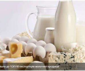 Україна увійшла до ТОП-10 експортерів молочної продукції