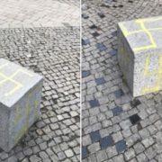 У мережі виклали відео вандалів, які розмалювали свастиками куби у центрі Франківська