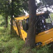 На Прикарпатті автобус з'їхав у кювет та врізався в дерево. ФОТОФАКТ