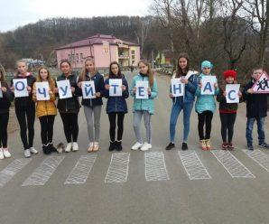 На Прикарпатті діти крейдою намалювали на дорозі зебру (ФОТО)
