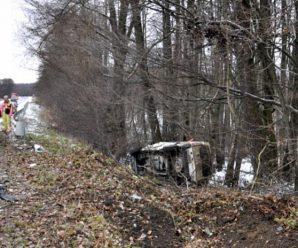 На трасі Калуш-Івано-Франківськ мінівен злетів з дороги та перекинувся